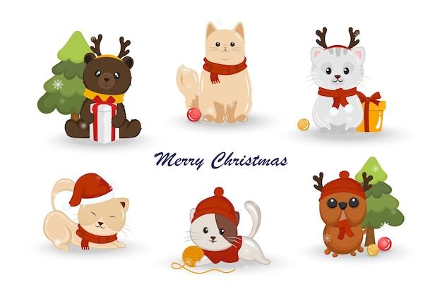 白い背景の上のクリスマスの衣装と動物のセット