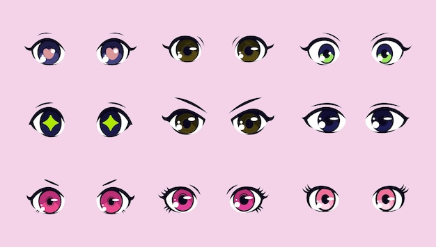 Набор иллюстраций аниме глаза