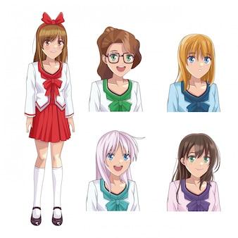 アニメ若い女性のプロフィールのセット