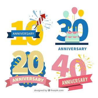 Set of anniversary cards in flat style