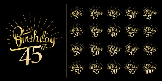 記念日のお祝いのエンブレムデザインと光沢のある花火のセット