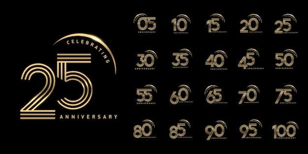 光沢のあるスウッシュと記念日のお祝いのエンブレムデザインのセット
