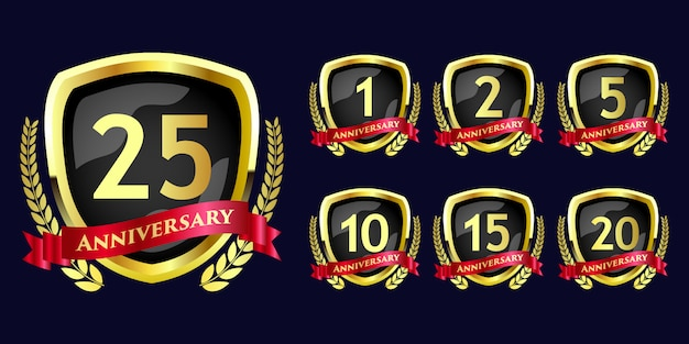 Набор празднования годовщины круглой эмблемы роскошный королевский цветок стиль значок шаблона дизайна