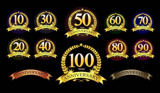 Набор юбилейного логотипа и золотой лентой. дизайн эмблемы празднования золотой годовщины