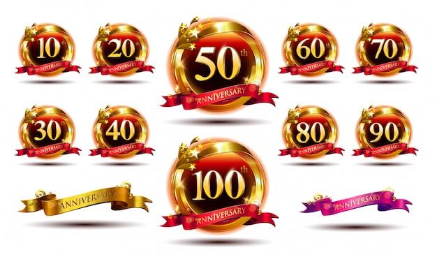 Набор логотипа годовщины и красной лентой. дизайн эмблемы празднования золотой годовщины