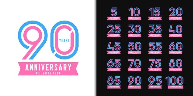 周年記念ロゴタイプのセットです。カラフルな周年記念お祝いエンブレムデザイン。
