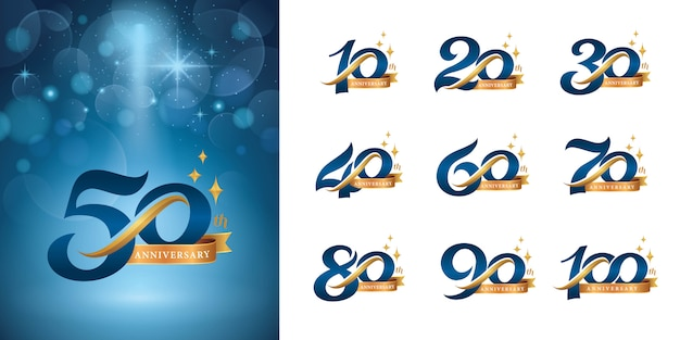Набор дизайна логотипа anniversary, элегантный классический логотип, винтажные и ретро буквы с засечками
