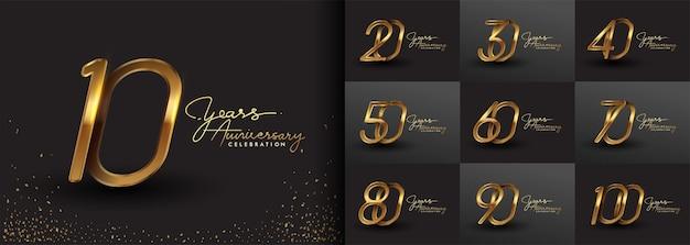 Набор дизайна юбилейного логотипа с почерком золотого цвета для торжественного мероприятия, свадьбы, поздравительной открытки и приглашения. векторная иллюстрация.