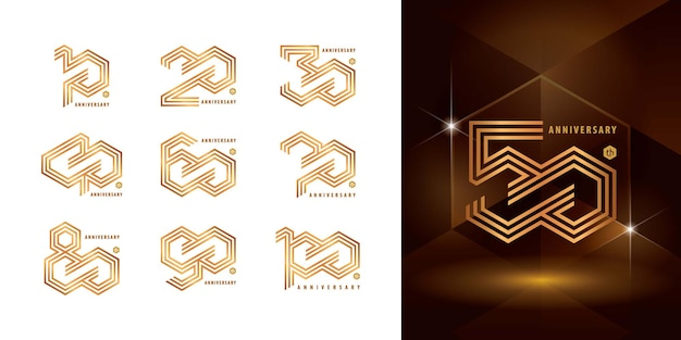 Набор дизайна логотипа юбилей
