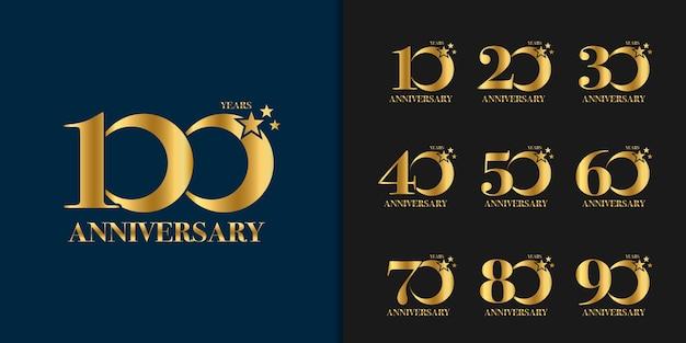 Набор юбилейного логотипа. празднование золотого юбилея.