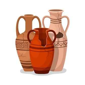 アンティークアンフォラのセット。壊れた古代の粘土の花瓶の瓶。セラミックの水差しの考古学的遺物。