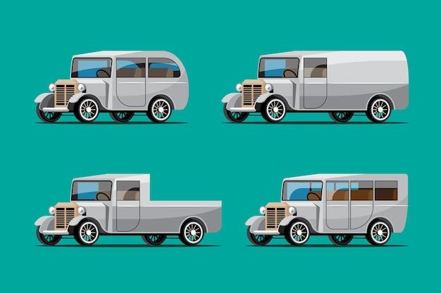 Набор старинных автомобилей в стиле ретро на зеленом