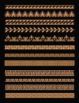 Набор античных греческих границ и бесшовные орнаменты в золотом цвете на черном фоне в плоском стиле. элементы концепции греции.