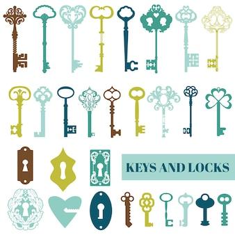골동품 열쇠와 자물쇠 세트