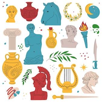 Набор античных статуй и скульптур кассических статуй