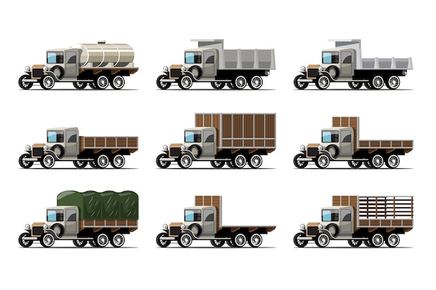 Набор старинных грузовиков и цистерн в стиле ретро на белом