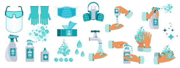 소독용 방부제 세트 손 위생 비누로 손 씻기