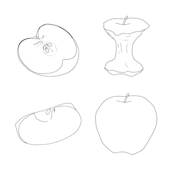 Набор яблок линейный эскиз каракули
