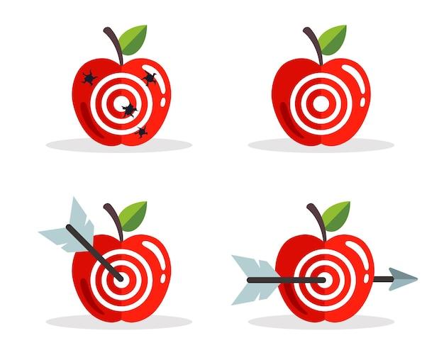 ターゲットとリンゴのセット。ターゲットを狙って撃ちます。フラットベクトルイラスト。