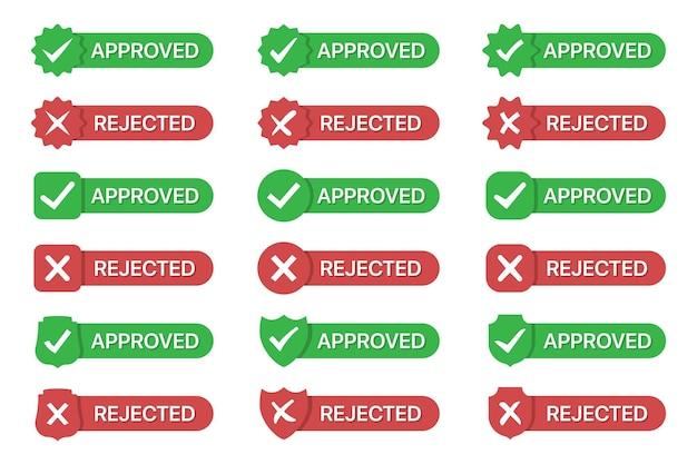 Набор одобренных и отклоненных значков значка плоский