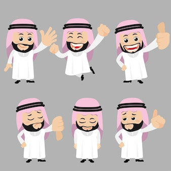 Набор арабских персонажей в разных позах Premium векторы
