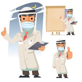 Набор арабской кефие традиционной национальной мусульманской одежды мужской доктор с маской Premium векторы