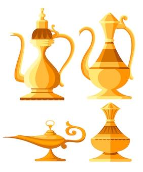 アラビアの水差しと石油ランプのイラストのセットです。アラジンの魔法または魔神ランプ。スタイルのイラスト。白い背景の上