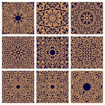 アラビア語のシームレスな花柄のセット