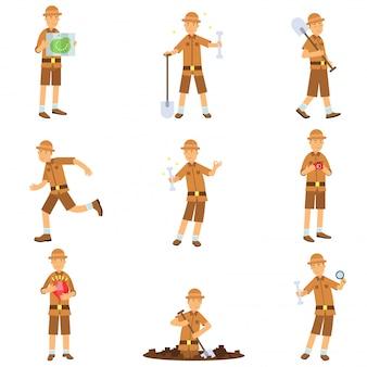 考古学者のキャラクターアクションのセット