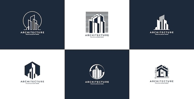 건축 로고 디자인 서식 파일의 집합입니다. 건축 로고 프리미엄 벡터