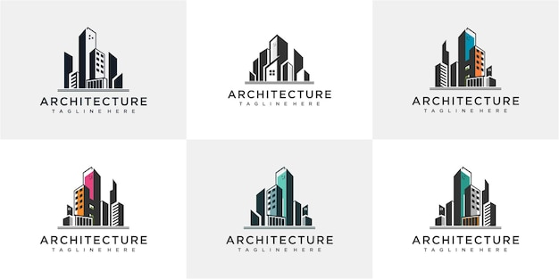 建築ロゴデザインテンプレートのセットです。建築ロゴ