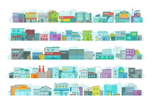 건축 도시 건물의 집합입니다. 도시의 긴 거리. 평평한 재고 그래픽. 다양한 세부 사항