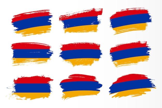 아르메니아 브러시 스트로크 플래그 컬렉션 집합