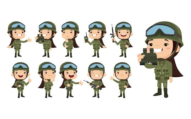 Набор солдат армии в униформе с разницей действий
