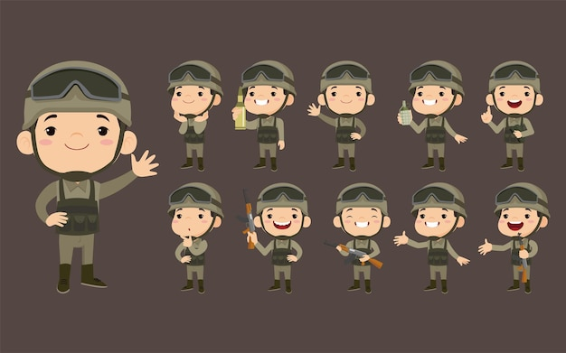 다른 행동으로 제복을 입은 육군 군인 세트