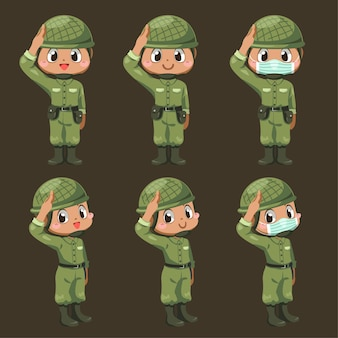 異なるアクションと漫画のキャラクター、孤立した平らなイラストで敬礼に立つ緑の制服を着た陸軍兵士の男性