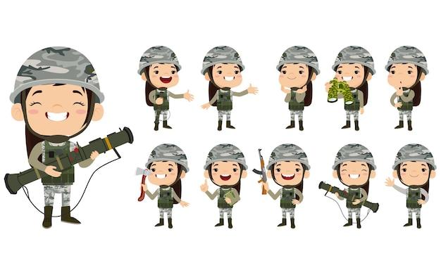 異なるアクションで制服を着た軍の兵士の男のセット