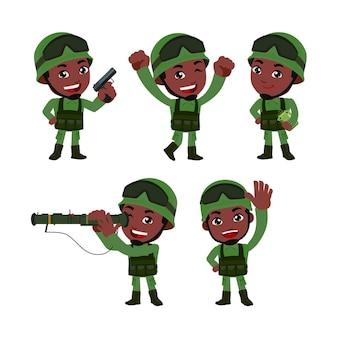 차이 행동으로 제복을 입은 육군 군인 남자의 집합