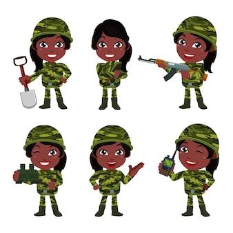 차이 행동으로 제복을 입은 육군 군인 여자 세트
