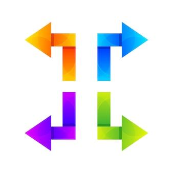 화살표 다채로운 로고 디자인 서식 파일의 집합