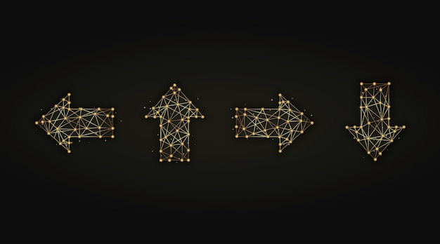 황금 화살표 추상 그림의 집합