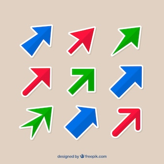평면 디자인에 화살표의 집합
