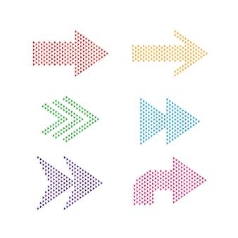 ハーフトーンスタイル、ベクトル図で白い背景に分離された矢印のセット