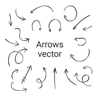 白い背景の矢印のセット。デザインのためのさまざまな要素。直線カーソルと曲線カーソル