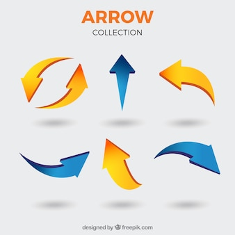 Set of arrows to mark in realistic style