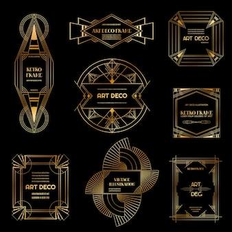 アールデコ調のボーダーとフレームのセットです。デザイン、ウェディングカード、カバー、バナー装飾用の1920年代のギャツビースタイルの幾何学的テンプレート。ベクターイラストeps10