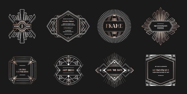 Набор границ и рамок в стиле ар-деко. геометрический шаблон в стиле гэтсби 1920-х годов для вашей свадебной открытки, сохранить дизайн даты, обложку, украшение баннера. векторная иллюстрация eps 10