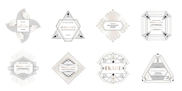 アールデコ調のボーダーとフレームのセットです。あなたの結婚式のカードのための1920年代のギャツビースタイルの幾何学的なテンプレート、日付のデザイン、カバー、バナーの装飾を保存します。ベクターイラストeps10