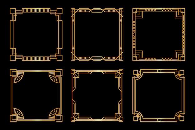 Набор рамок и украшений в стиле арт-деко