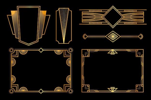 アールデコのフレームと装飾のセット